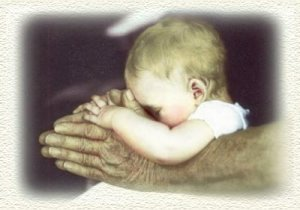 Elderly hands & baby praying hands